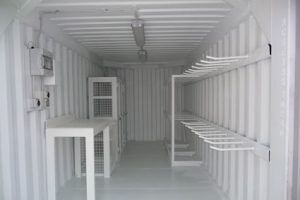 Shipping container workshop workbench