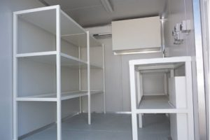 Shipping container workshop shelving