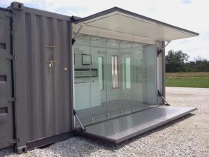 Shipping container bathroom pods